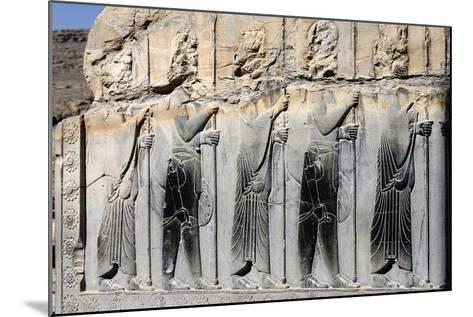 Bas-Relief of Persian Guards on a Wall in Persepolis-Babak Tafreshi-Mounted Photographic Print