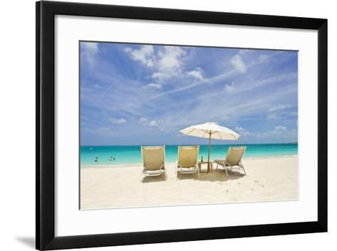 Empty Beach Chairs in the Sand on a Tropical Beach in the Caribbean-Mike Theiss-Framed Art Print