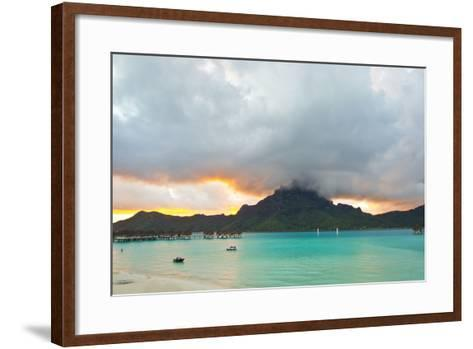 A Cloudy Sunset over Mount Otemanu and the Pacific Ocean-Mike Theiss-Framed Art Print
