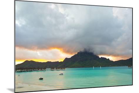 A Cloudy Sunset over Mount Otemanu and the Pacific Ocean-Mike Theiss-Mounted Photographic Print
