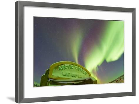 An Aurora Borealis at the Famous Arctic Circle Sign-Mike Theiss-Framed Art Print