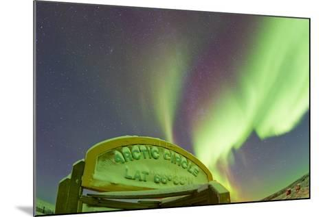 An Aurora Borealis at the Famous Arctic Circle Sign-Mike Theiss-Mounted Photographic Print