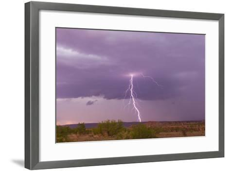 Intense Purple Lightning Bolts Strike in the Desert of New Mexico-Mike Theiss-Framed Art Print