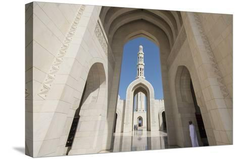 The Three Arches That Comprise the Main Entrance to the Sultan Qaboos Grand Mosque-Michael Melford-Stretched Canvas Print