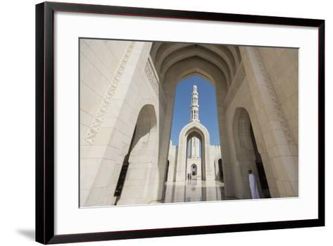 The Three Arches That Comprise the Main Entrance to the Sultan Qaboos Grand Mosque-Michael Melford-Framed Art Print