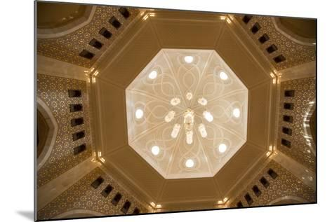 A View of a Chandelier Hanging from a Dome Inside the Sultan Qaboos Grand Mosque-Michael Melford-Mounted Photographic Print