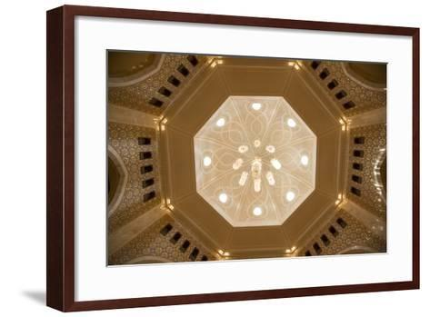 A View of a Chandelier Hanging from a Dome Inside the Sultan Qaboos Grand Mosque-Michael Melford-Framed Art Print