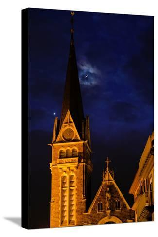 The Moon and Venus Pairing in a Conjunction over a Church at Night-Babak Tafreshi-Stretched Canvas Print