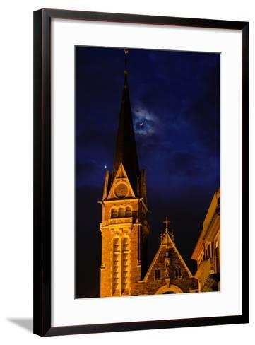 The Moon and Venus Pairing in a Conjunction over a Church at Night-Babak Tafreshi-Framed Art Print