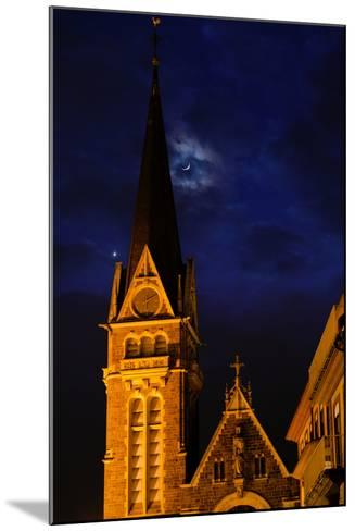 The Moon and Venus Pairing in a Conjunction over a Church at Night-Babak Tafreshi-Mounted Photographic Print