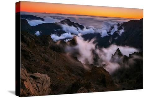 Clouds Roll over the Peaks at Caldera De Taburiente at Sunset-Babak Tafreshi-Stretched Canvas Print