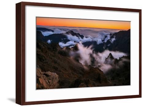 Clouds Roll over the Peaks at Caldera De Taburiente at Sunset-Babak Tafreshi-Framed Art Print