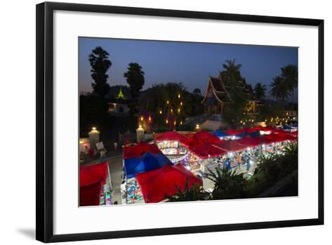 A Street Market at Night in Front of the Royal Place-Michael Melford-Framed Art Print