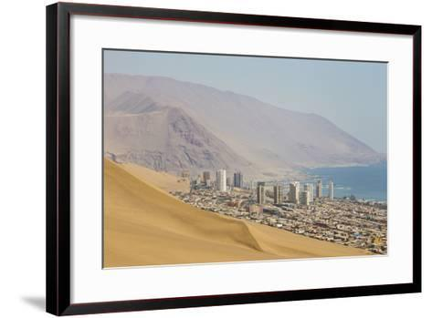 The City of Iquique, Chile, Sprawls Along the Base of Giant Sand Mountains-Mike Theiss-Framed Art Print