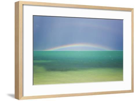 A Brilliant Double Rainbow over the Atlantic Ocean in the Florida Keys-Mike Theiss-Framed Art Print