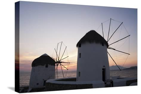 Traditional-Style Windmills on the Coast at Sunset-Sergio Pitamitz-Stretched Canvas Print