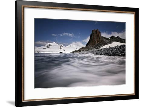 Blurred Tide Sweeps over a Rocky Beach-Jim Richardson-Framed Art Print