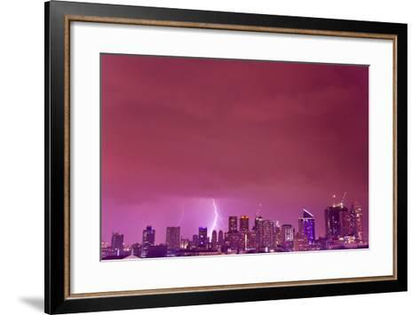 A Intense Thunderstorm with Lightning over the Skyline of Manila-Mike Theiss-Framed Art Print