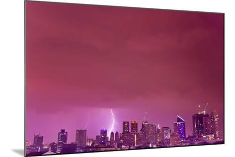 A Intense Thunderstorm with Lightning over the Skyline of Manila-Mike Theiss-Mounted Photographic Print