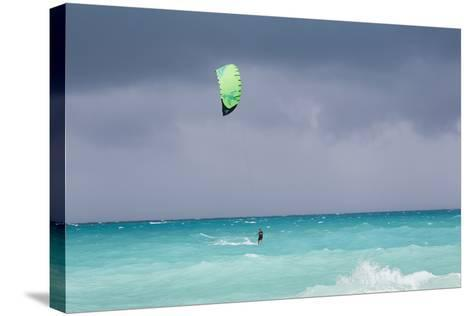 A Kiteboarder Enjoying Gusty Winds Created by Hurricane Tomas-Mike Theiss-Stretched Canvas Print