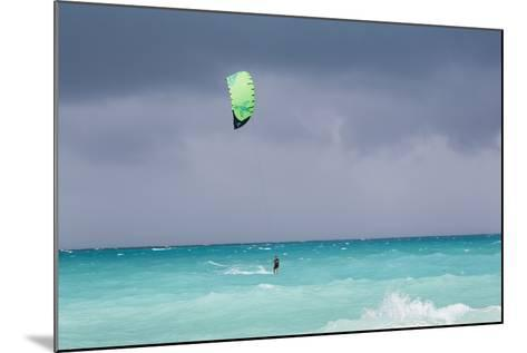 A Kiteboarder Enjoying Gusty Winds Created by Hurricane Tomas-Mike Theiss-Mounted Photographic Print