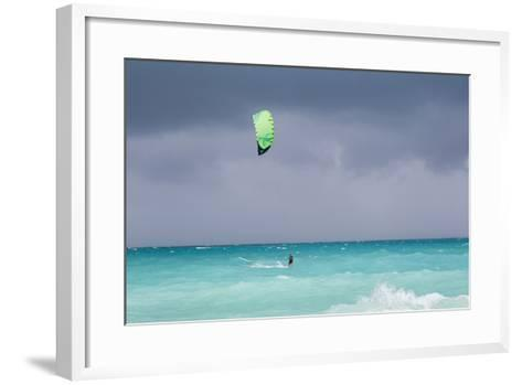 A Kiteboarder Enjoying Gusty Winds Created by Hurricane Tomas-Mike Theiss-Framed Art Print