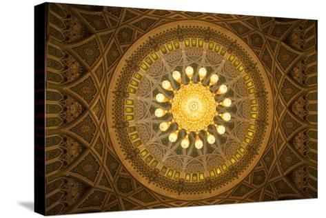 The Chandelier Above the Praying Hall Inside the Sultan Qaboos Grand Mosque, from Directly Below-Michael Melford-Stretched Canvas Print