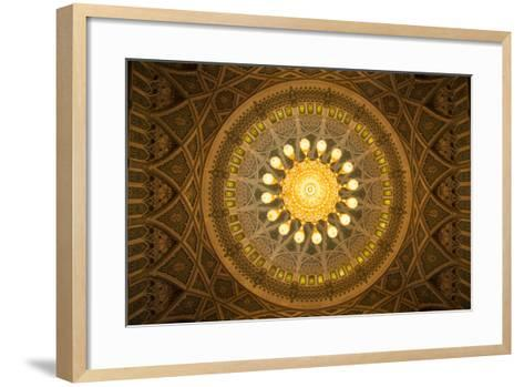The Chandelier Above the Praying Hall Inside the Sultan Qaboos Grand Mosque, from Directly Below-Michael Melford-Framed Art Print