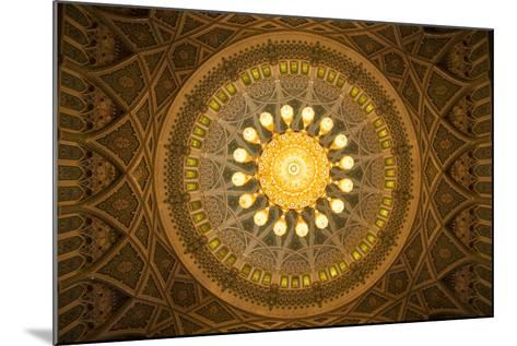 The Chandelier Above the Praying Hall Inside the Sultan Qaboos Grand Mosque, from Directly Below-Michael Melford-Mounted Photographic Print