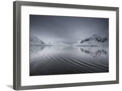 Icebergs and Mountains Reflected in a Rippled Surface of the Ocean-Jim Richardson-Framed Art Print