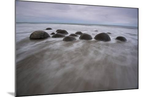 A Long Exposure of the Moeraki Boulders on the South Island Along a Stretch of Koekohe Beach-Michael Melford-Mounted Photographic Print
