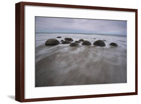 A Long Exposure of the Moeraki Boulders on the South Island Along a Stretch of Koekohe Beach-Michael Melford-Framed Art Print