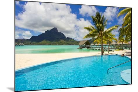 A Swimming Pool on the Beach at the Le Meridien Resort, with Mount Otemanu in the Distance-Mike Theiss-Mounted Photographic Print