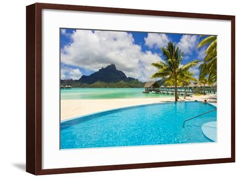 A Swimming Pool on the Beach at the Le Meridien Resort, with Mount Otemanu in the Distance-Mike Theiss-Framed Art Print