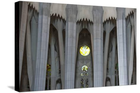 Interior View of Columns and Stain Glass Windows in Gaudi's La Sagrada Familia Catedral-Michael Melford-Stretched Canvas Print