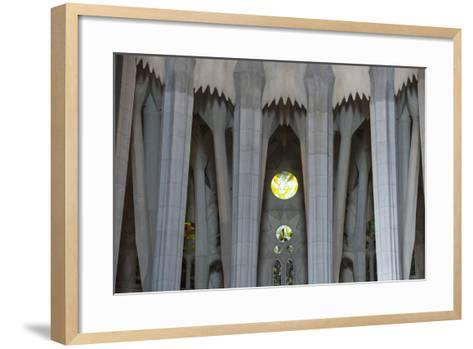 Interior View of Columns and Stain Glass Windows in Gaudi's La Sagrada Familia Catedral-Michael Melford-Framed Art Print