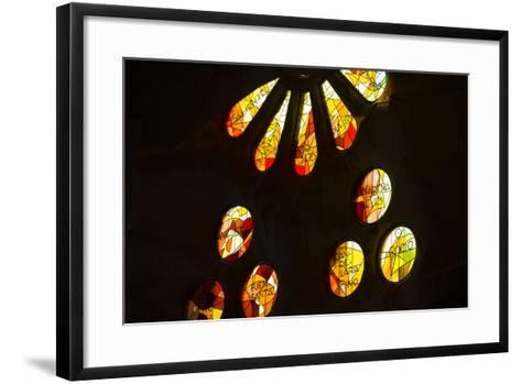 A Portion of a Rose Window at La Sagrada Familia Catedral-Michael Melford-Framed Art Print