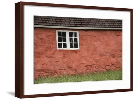 An Old Wooden Framed Window in an Old Stone Walled Historic Home at the Sisimiut Museum-Michael Melford-Framed Art Print