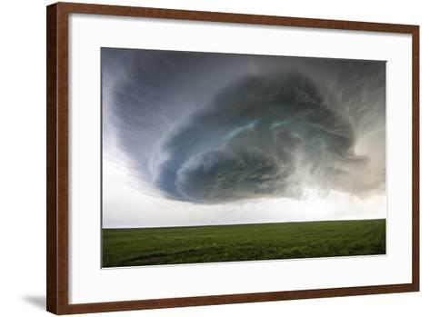 A Supercell Thunderstorm Rotates over Cropland-Jim Reed-Framed Art Print
