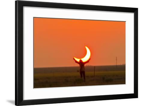 Woman Holds Up Arms as If She Is Holding Up the Annular Solar Eclipse-Mike Theiss-Framed Art Print