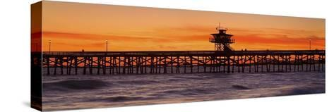 San Clemente Municipal Pier in Sunset-Design Pics Inc-Stretched Canvas Print