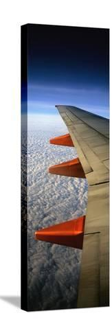 Aeroplane Wing Flying London to Glasgow-Design Pics Inc-Stretched Canvas Print