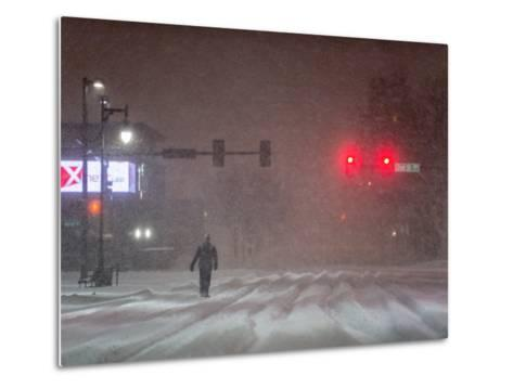A Man Walking to Work Waits for a Red Light During a Predawn Snowstorm-Jim Reed-Metal Print