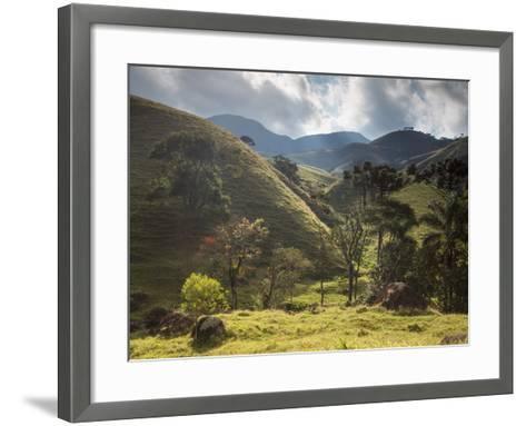 View of Farmland at Sunset in Sao Francisco Xavier Region-Alex Saberi-Framed Art Print