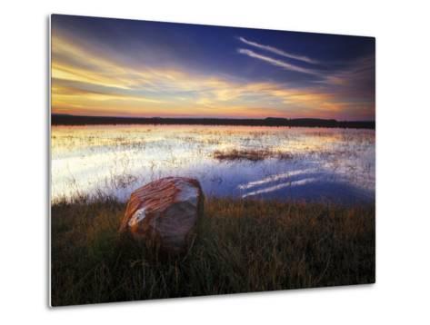 Pond with Rock at Sunrise, Cederberg Wilderness Area, South Africa-Keith Ladzinski-Metal Print