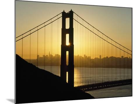 Yellow Sunrise Behind the Golden Gate Bridge with Skyline Behind-Design Pics Inc-Mounted Photographic Print