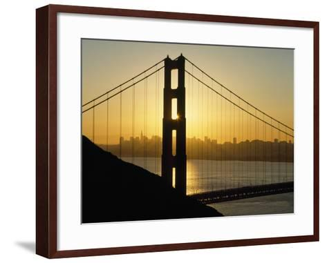 Yellow Sunrise Behind the Golden Gate Bridge with Skyline Behind-Design Pics Inc-Framed Art Print