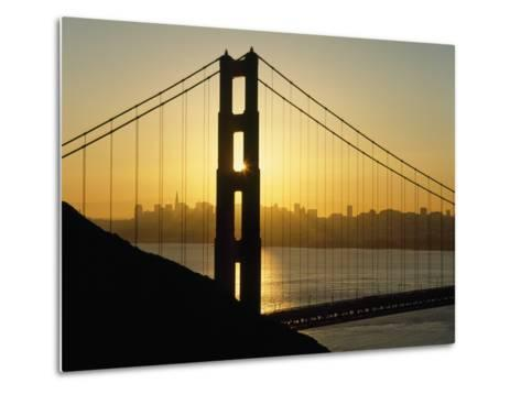 Yellow Sunrise Behind the Golden Gate Bridge with Skyline Behind-Design Pics Inc-Metal Print