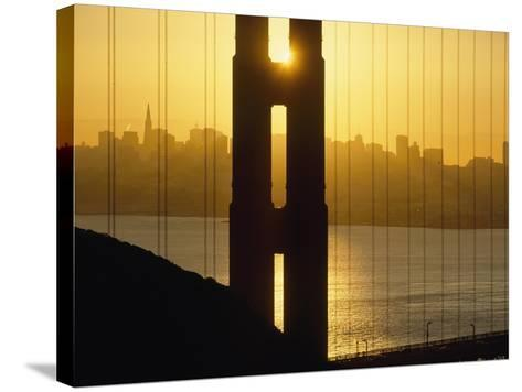 Sunrise Behind the Golden Gate Bridge with Skyline Behind-Design Pics Inc-Stretched Canvas Print