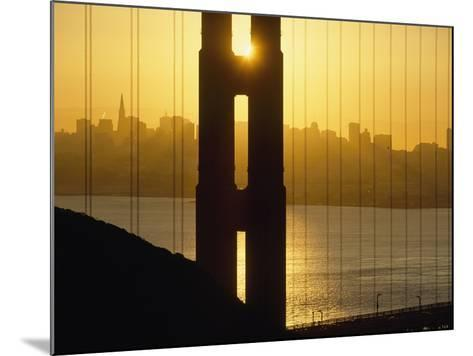 Sunrise Behind the Golden Gate Bridge with Skyline Behind-Design Pics Inc-Mounted Photographic Print